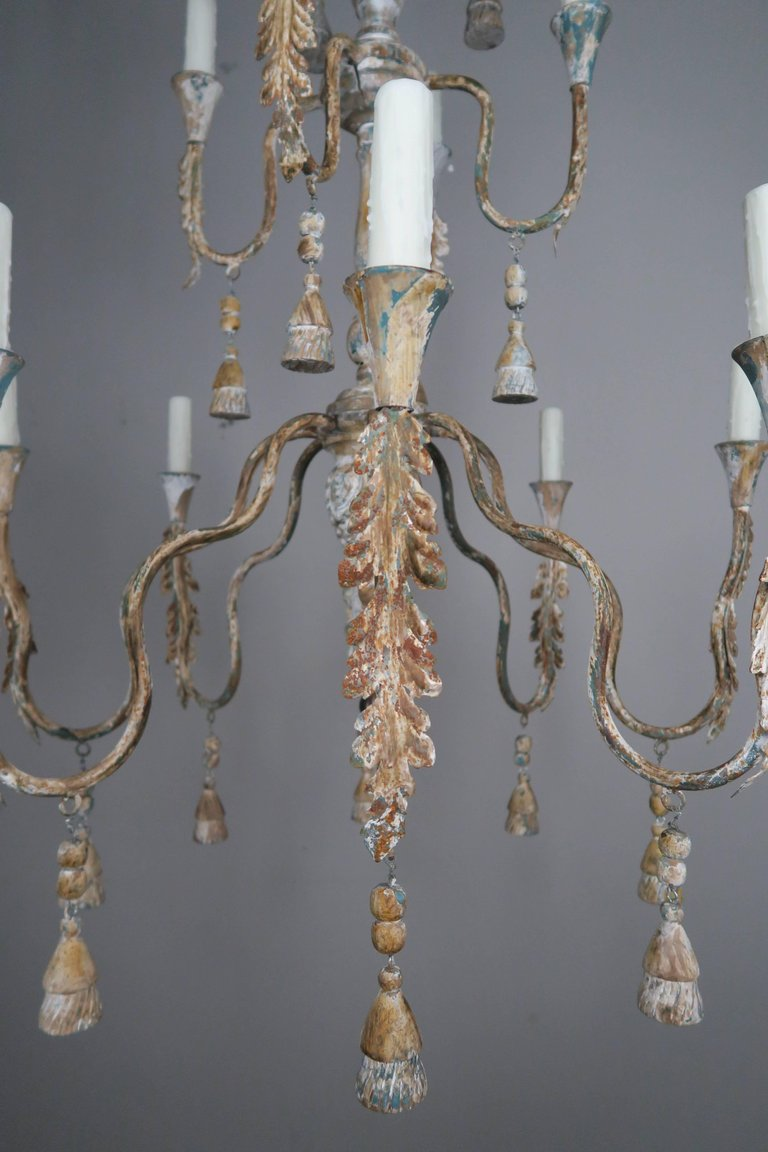 Pair of Italian Wood Beaded Painted Chandeliers2