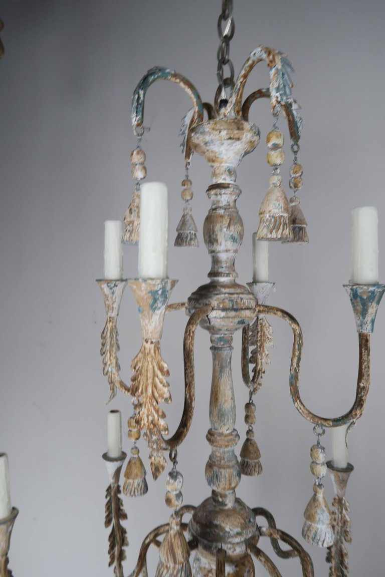 Pair of Italian Wood Beaded Painted Chandeliers3