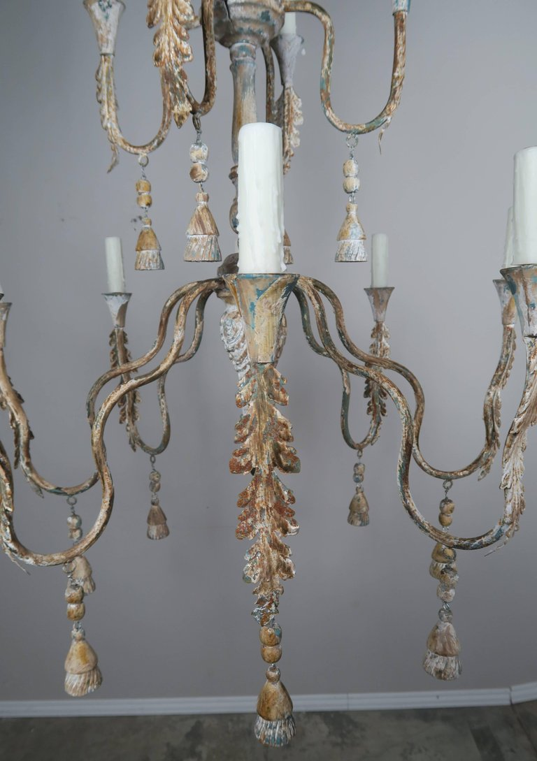 Pair of Italian Wood Beaded Painted Chandeliers4