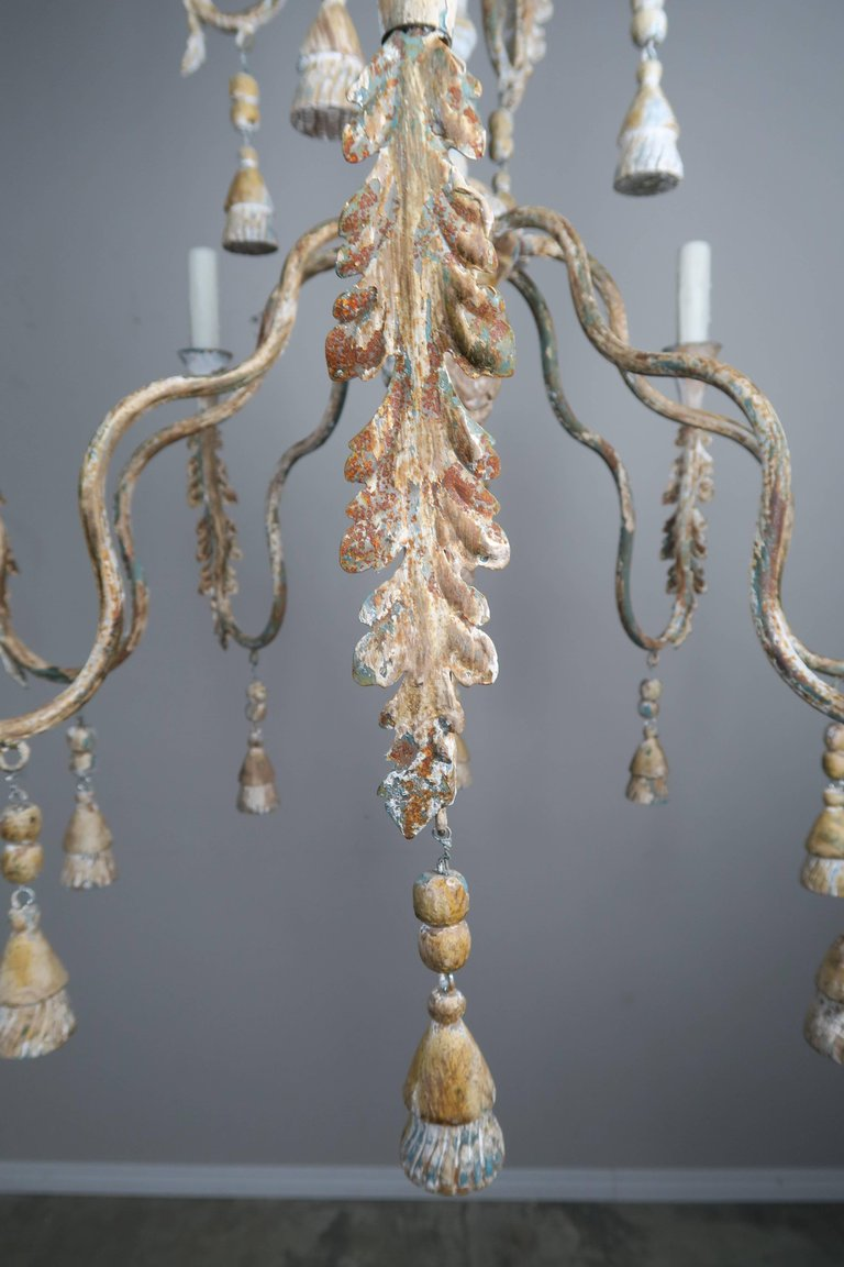 Pair of Italian Wood Beaded Painted Chandeliers5