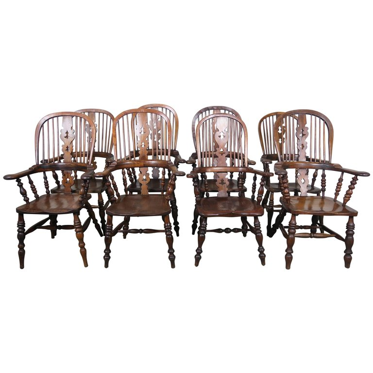 Set of Eight 19th Century English Windsor Armchairs