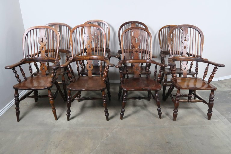 Set of Eight 19th Century English Windsor Armchairs1