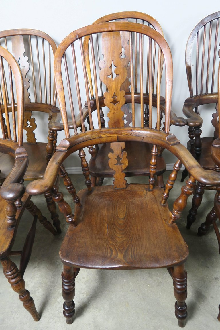 Set of Eight 19th Century English Windsor Armchairs2