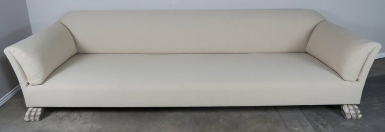 Swedish Linen Grand Sofa Carved Lion Feet1