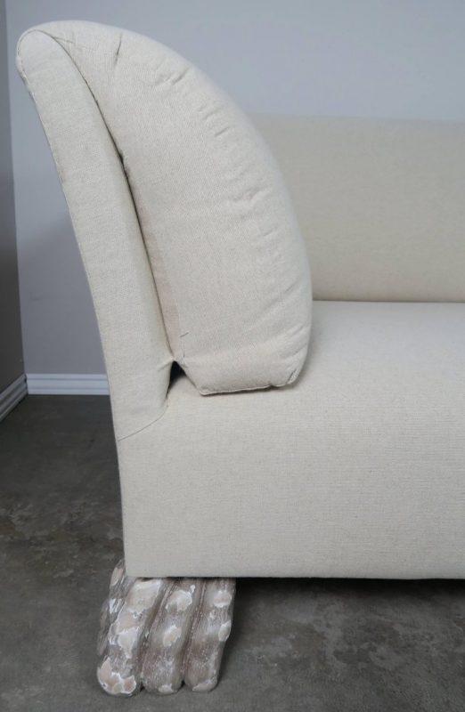 Swedish Linen Grand Sofa Carved Lion Feet2