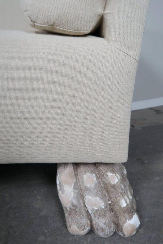 Swedish Linen Grand Sofa Carved Lion Feet3