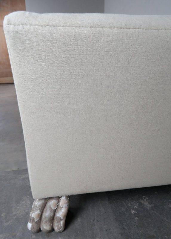 Swedish Linen Grand Sofa Carved Lion Feet8