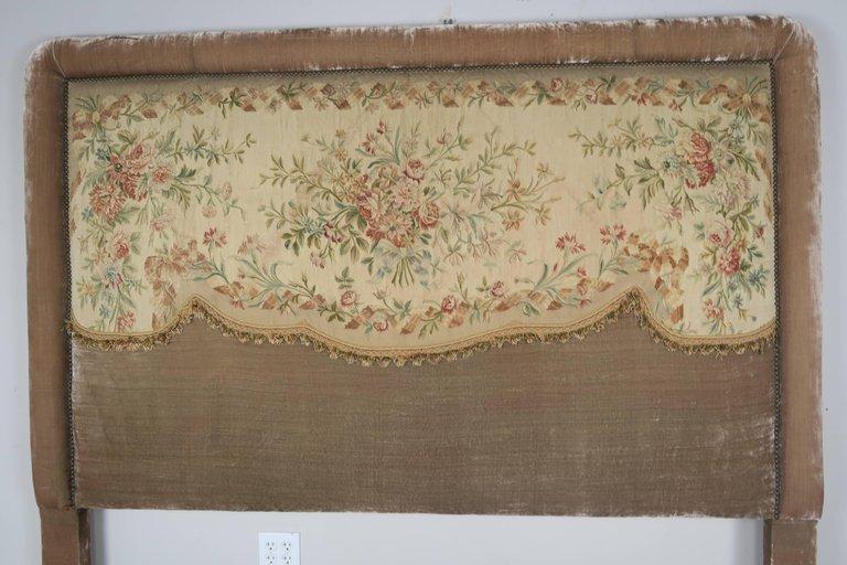 19th Century Aubusson and Rose Velvet Headboard 1
