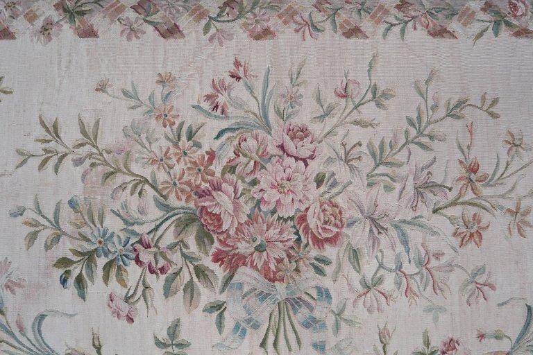 19th Century Aubusson and Rose Velvet Headboard 2