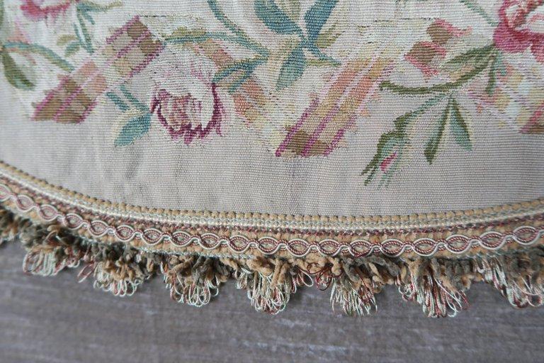 19th Century Aubusson and Rose Velvet Headboard 3