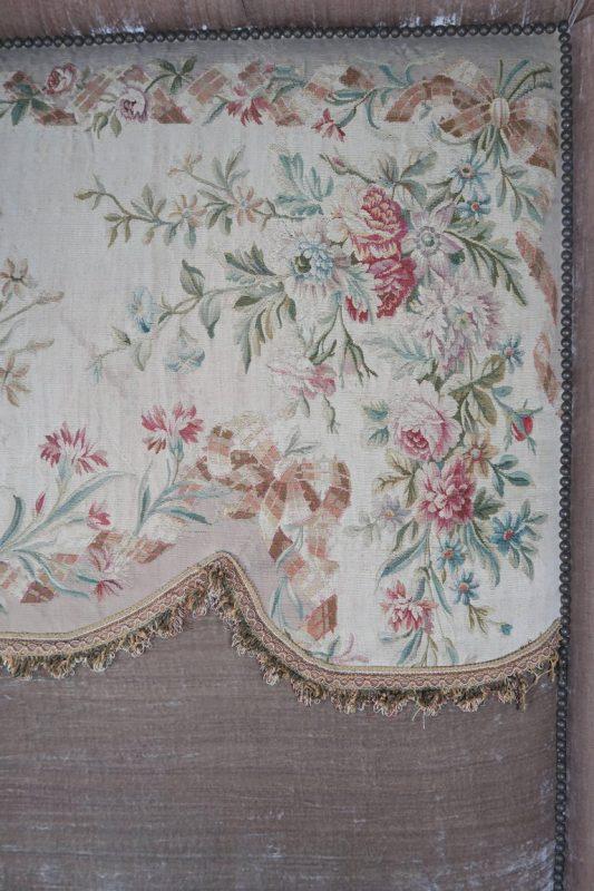 19th Century Aubusson and Rose Velvet Headboard 4