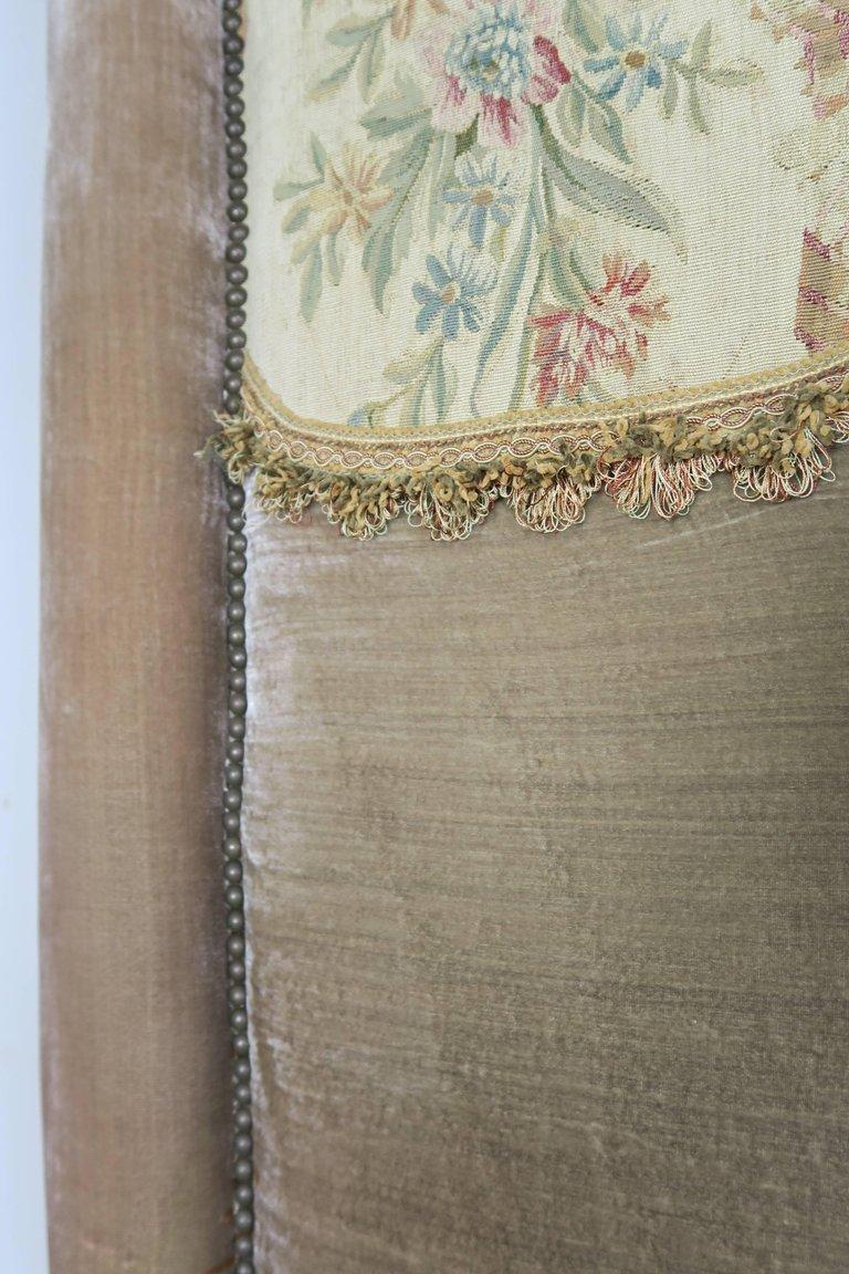 19th Century Aubusson and Rose Velvet Headboard 5