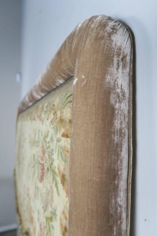 19th Century Aubusson and Rose Velvet Headboard6