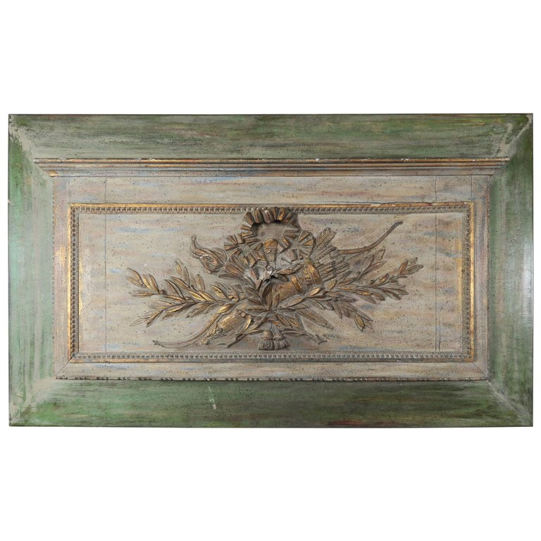 French Louis XV Style Carved Painted Panel, circa 1900