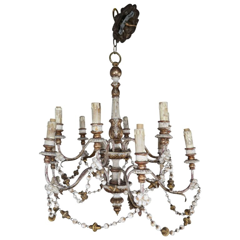 Italian Wood Beaded Painted And Parcel Gilt Chandelier
