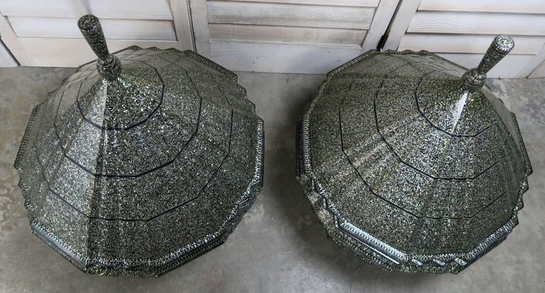 Monumental Mother-of-Pearl Pagoda Containers, Pair 1