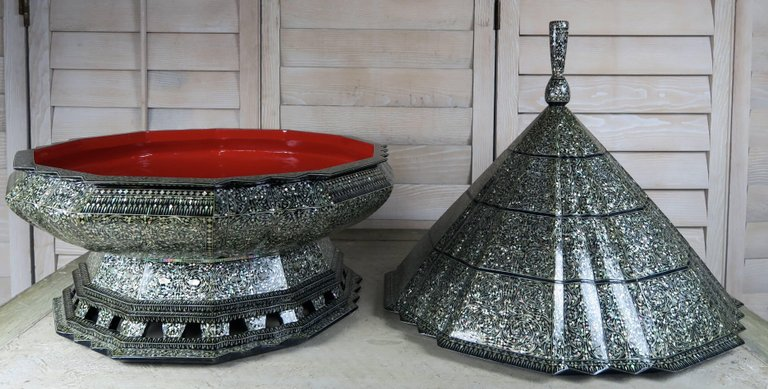 Monumental Mother-of-Pearl Pagoda Containers, Pair 6