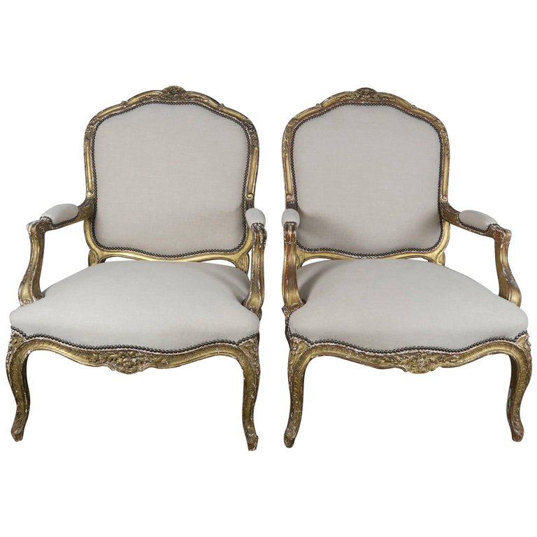 Pair of 19th Century French Giltwood Fauteuils