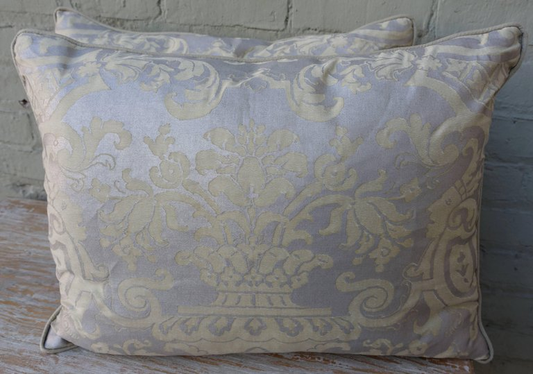 Pair of Fortuny Carnavalet Avocado and Silvery Gold Pillows 1