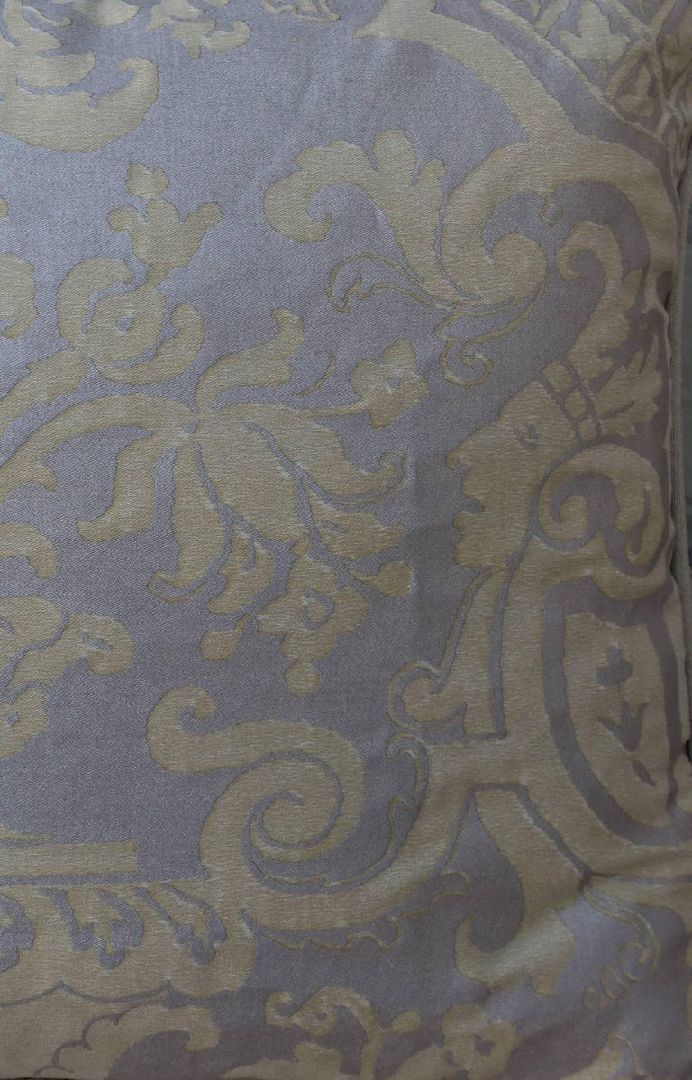 Pair of Fortuny Carnavalet Avocado and Silvery Gold Pillows 2