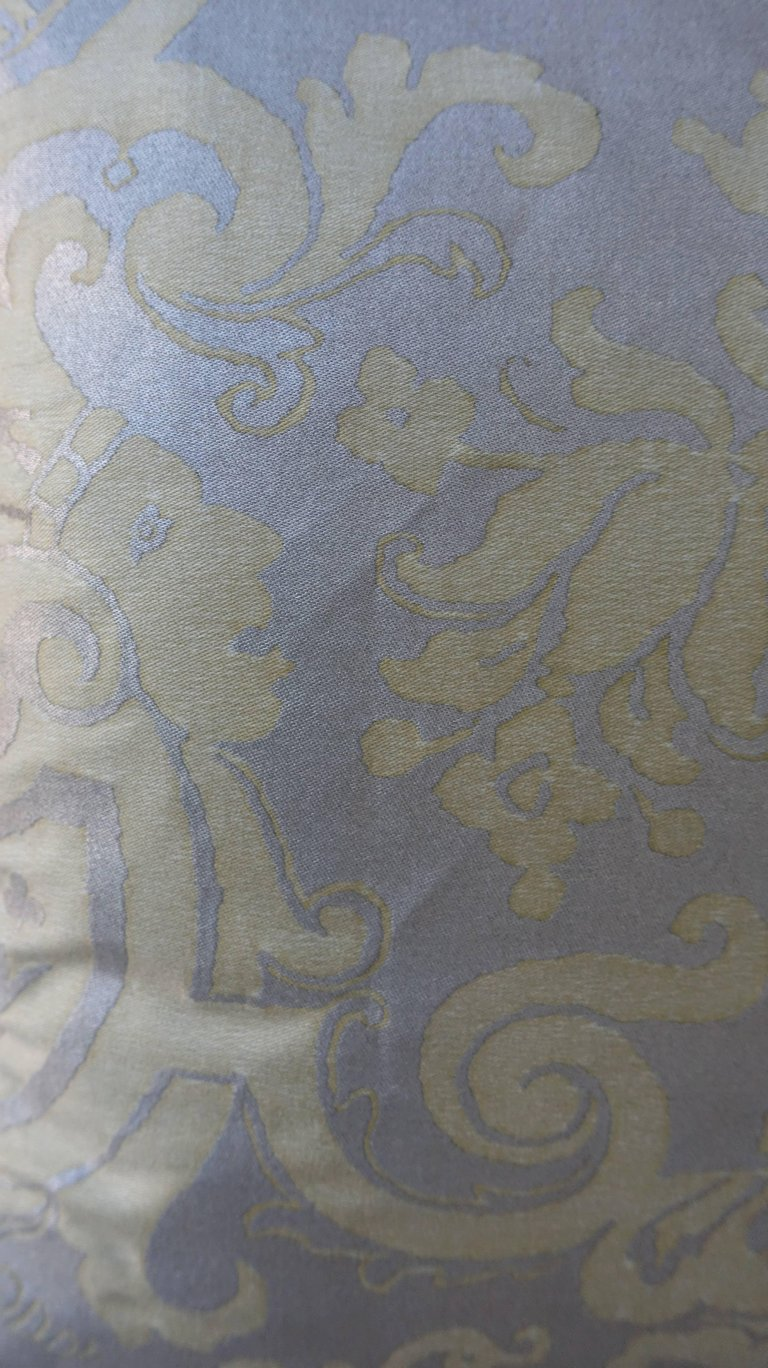 Pair of Fortuny Carnavalet Avocado and Silvery Gold Pillows 4