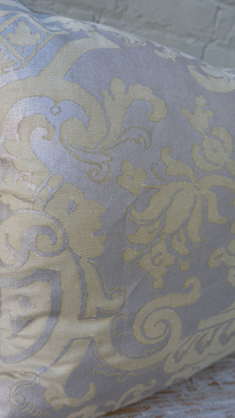 Pair of Fortuny Carnavalet Avocado and Silvery Gold Pillows 5