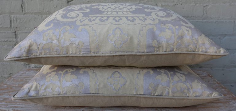 Pair of Fortuny Carnavalet Avocado and Silvery Gold Pillows 6