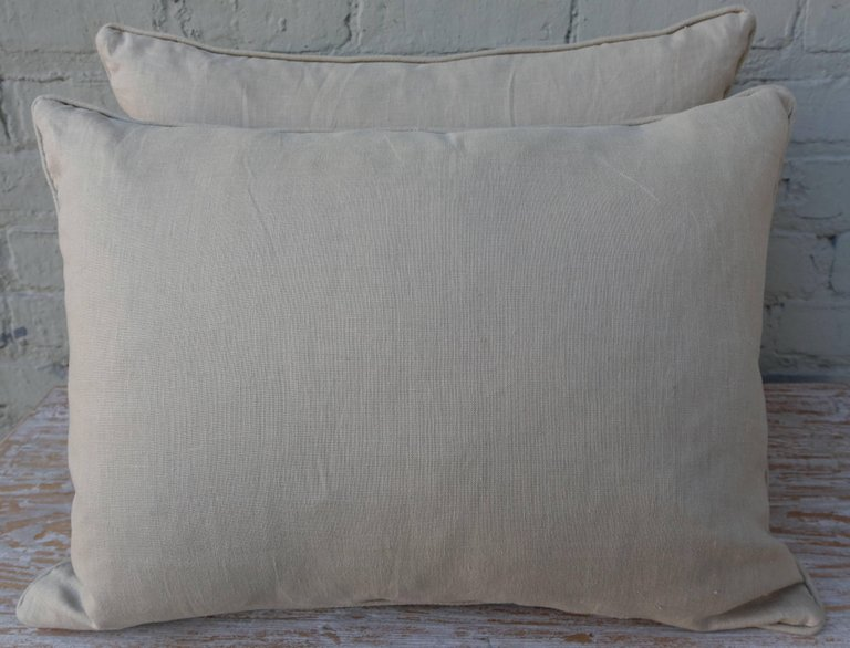 Pair of Fortuny Carnavalet Avocado and Silvery Gold Pillows 7