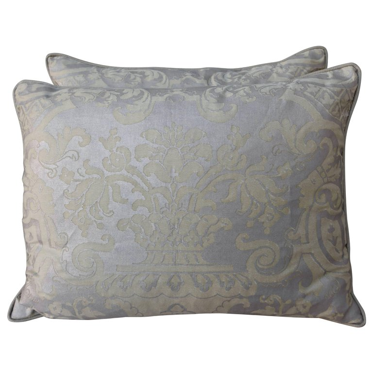 Pair of Fortuny Carnavalet Avocado and Silvery Gold Pillows