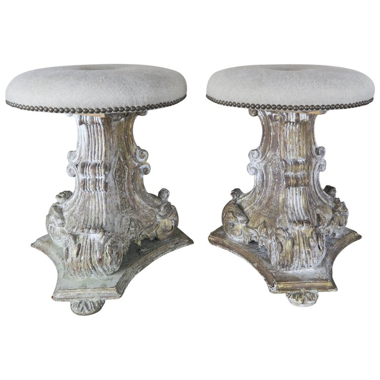 Pair of Italian Painted and Parcel-Gilt Carved Stools