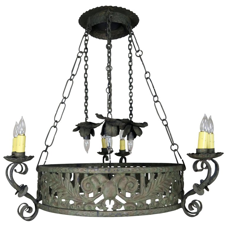 19th C. Wrought Iron Spanish Chandelier - 19th C. Wrought Iron Spanish Chandelier Melissa Levinson Antiques