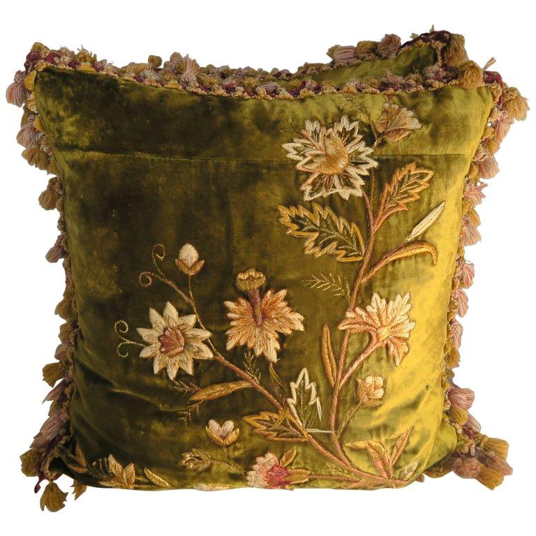Antique Silk Velvet Embroidered Pillows Pair Melissa