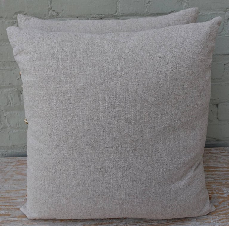 Custom Appliquéd Linen Pillows with Floral Urn 8