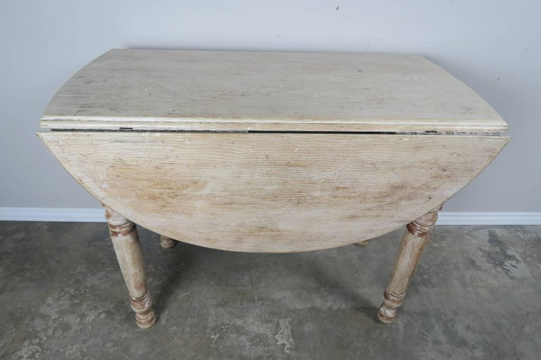 English Drop-Leaf Table with Natural Washed Finish 1