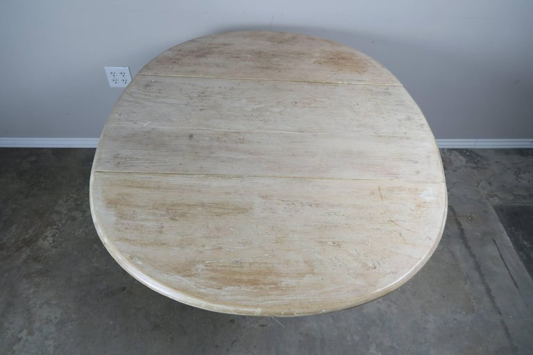English Drop-Leaf Table with Natural Washed Finish 2