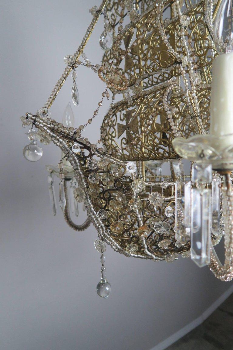 Antique crystal ship chandelier chandelier designs french crystal beaded ship chandelier circa 1930s melissa arubaitofo Choice Image