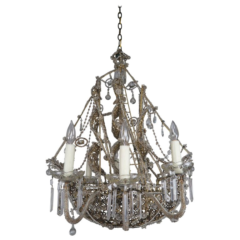 French Crystal Beaded Ship Chandelier Circa 1930s