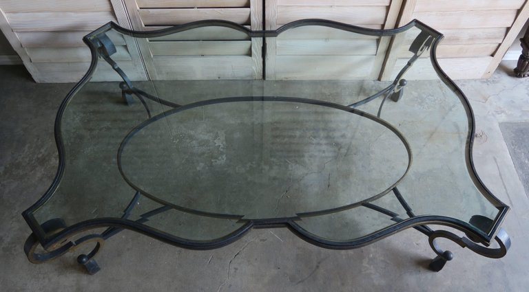 French Gilt Wrought Iron and Glass Coffee Table 3