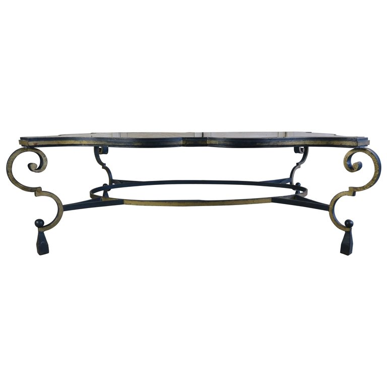 French gilt wrought iron and glass coffee table melissa for Oval wrought iron coffee table with glass top