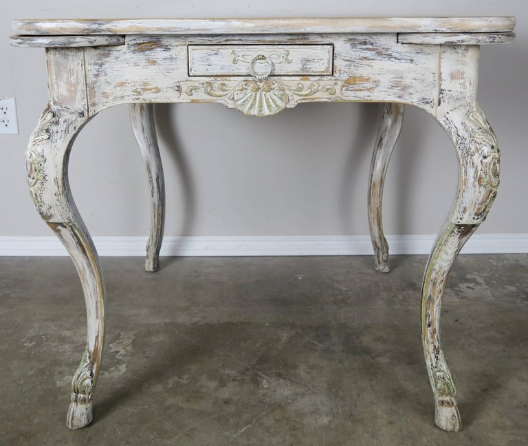 French Painted Leather Top Game Table C. 1900's 1