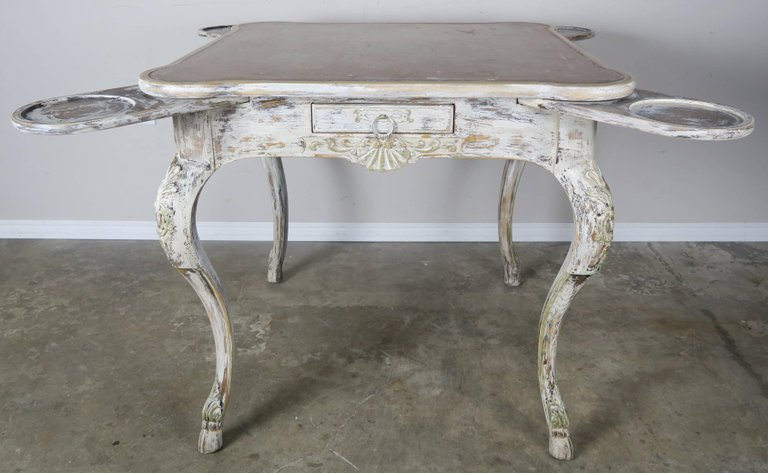 French Painted Leather Top Game Table C. 1900's 3