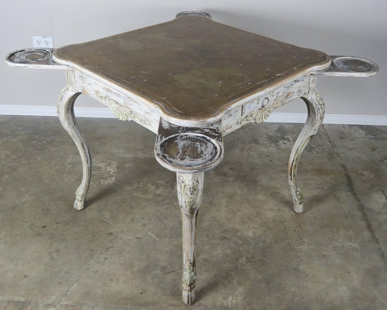 French Painted Leather Top Game Table C. 1900's 4