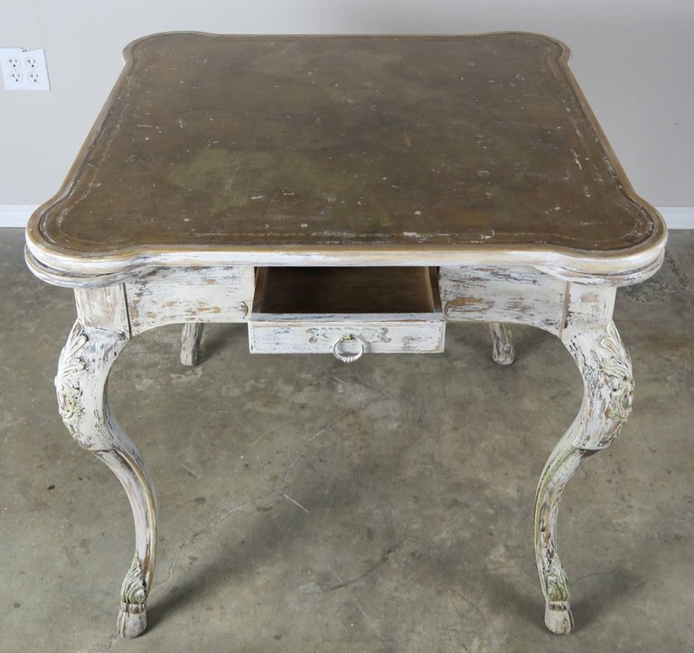 French Painted Leather Top Game Table C. 1900's 5