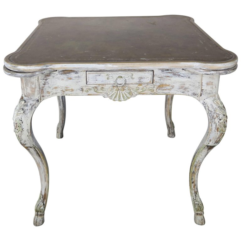 French Painted Leather Top Game Table, circa 1900s a