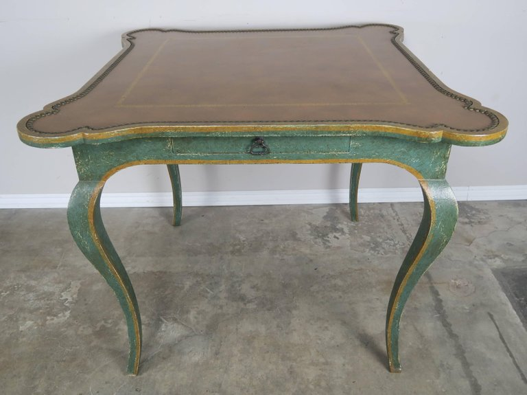Minton-Spidell Game Table with Embossed Leather Top 1