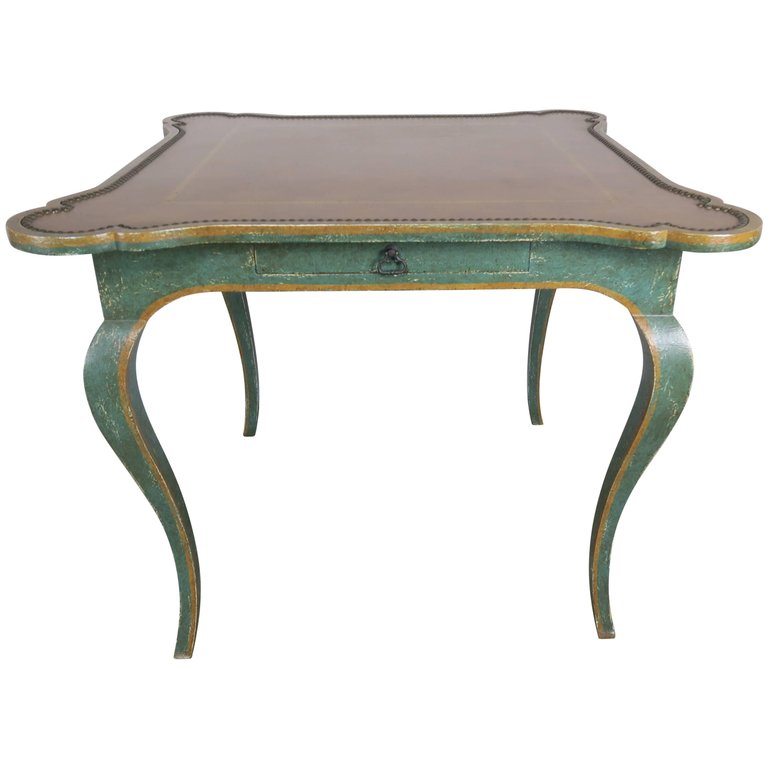 Minton-Spidell Game Table with Embossed Leather Top