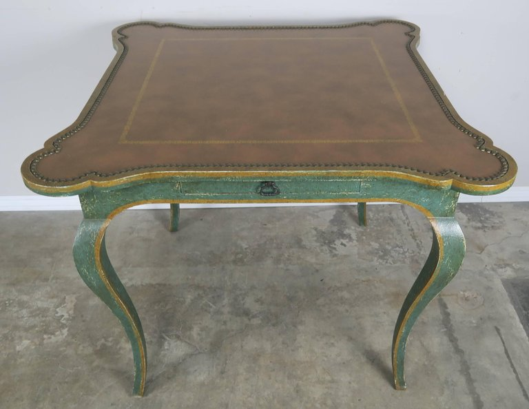 Minton-Spidell Game Table with Embossed Leather Top 2
