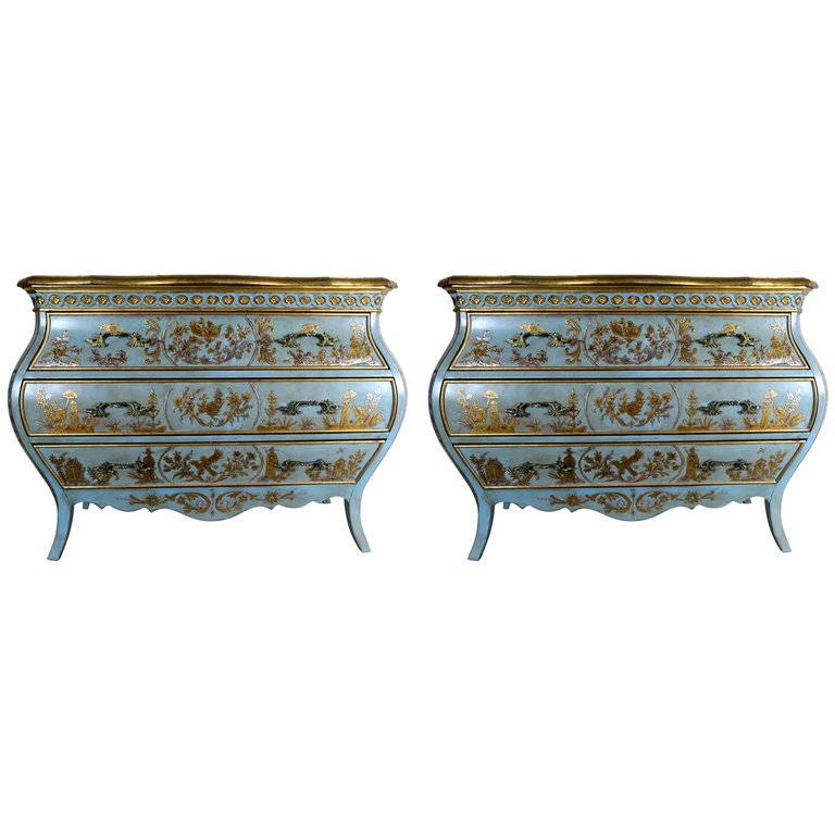Pair of French Painted Chinoiserie Bombay Shaped Chests with Three Drawers Each