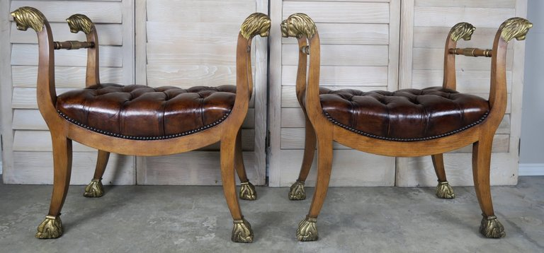 Pair of Gilded Lion Head Tufted Leather Benches