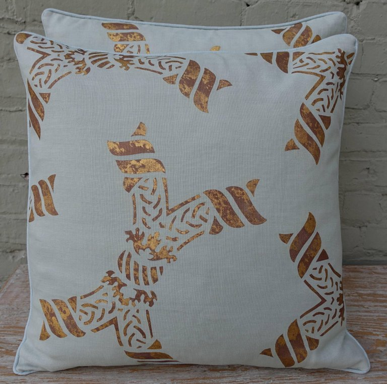 Pair of Gold Stenciled Nomi Linen Pillows by Melissa Levinson 1
